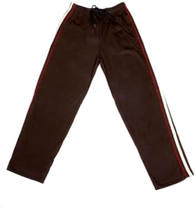 IndiWeaves Boys Premium Cotton Full Length Lower with 2 Open Pocket_Brown