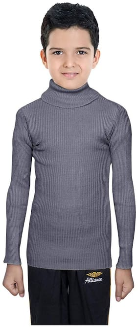 Indiweaves Boy Wool Solid Sweater - Grey