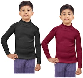 Indiweaves Boy Wool Striped Sweater - Black & Maroon