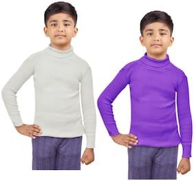 Indiweaves Boy Wool Striped Sweater - White & Purple