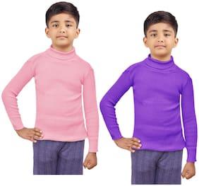 Indiweaves Boy Wool Striped Sweater - Pink & Purple