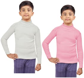 Indiweaves Boy Wool Solid Sweater - White & Pink
