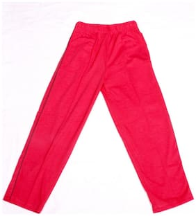 IndiWeaves Boys Premium Cotton Full Length Lower with 2 Open Pocket_Red