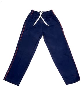 IndiWeaves Boys Premium Cotton Full Length Lower with 2 Open Pocket_Blue::Red