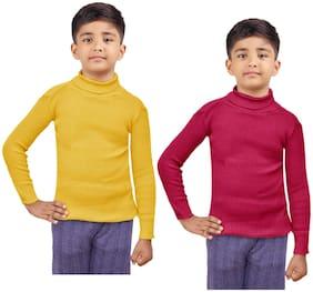 Indiweaves Boy Wool Striped Sweater - Yellow & Maroon