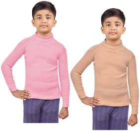 Indiweaves Boy Wool Striped Sweater - Pink & Beige