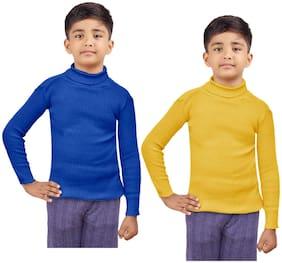 Indiweaves Boy Wool Striped Sweater - Blue & Yellow
