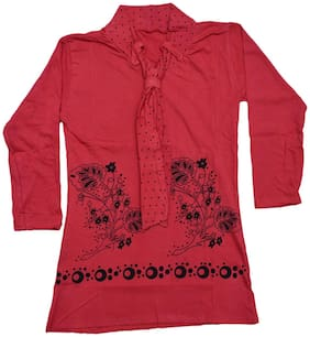 Indiweaves Girl Cotton Printed Top - Red