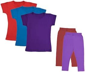 Indiweaves Girl Cotton Top & Bottom Set - Multi