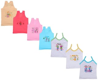 Indiweaves Vest for Girls - Multi , Set of 7