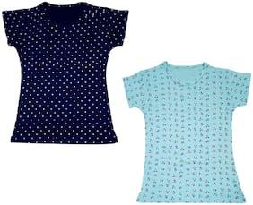 IndiWeaves Girls Printed Cotton Half Sleeves Tshirts (Pack of 2)