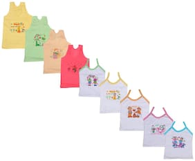 Indiweaves Vest for Girls - White , Set of 9