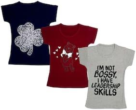 Indiweaves Girl Cotton Printed T shirt - Multi