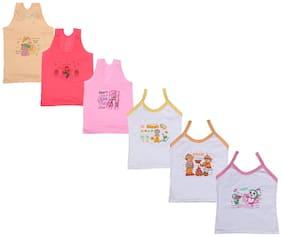 Indiweaves Vest for Girls - White , Set of 6