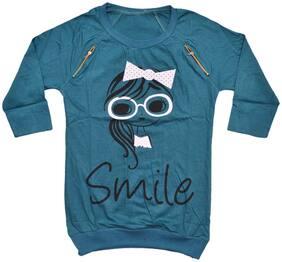 Indiweaves Girl Cotton Printed Top - Blue