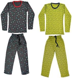 Indiweaves Girl Wool Top & Bottom Set - Green & Grey