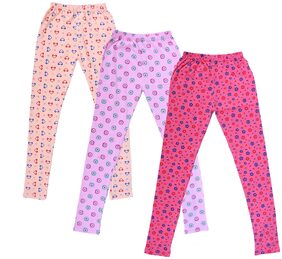 Indiweaves Girl Cotton Printed Leggings - Pink