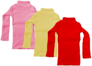 Indiweaves Girl Wool Solid Sweater - Red