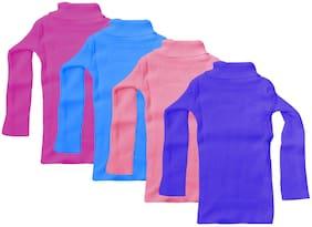 Indiweaves Girl Wool Solid Sweater - Multi