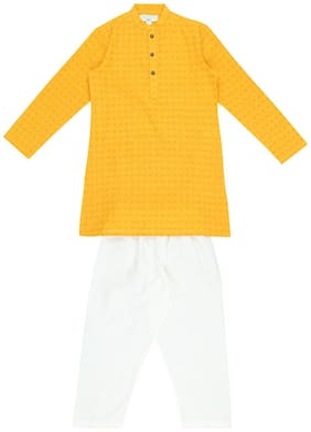 Indus Route by Pantaloons Boy Cotton Printed Kurta pyjama set - Yellow & White