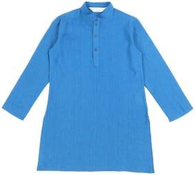 Indus Route by Pantaloons Boy Cotton Printed Kurta pyjama set - Blue