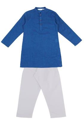 Indus Route by Pantaloons Boy Cotton Printed Kurta pyjama set - Blue & White