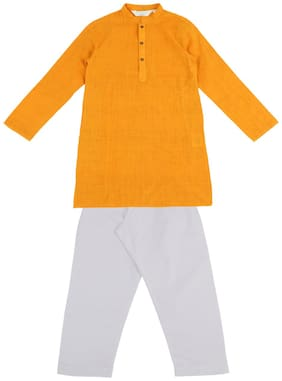 Indus Route by Pantaloons Boy Cotton Printed Kurta pyjama set - Yellow & White