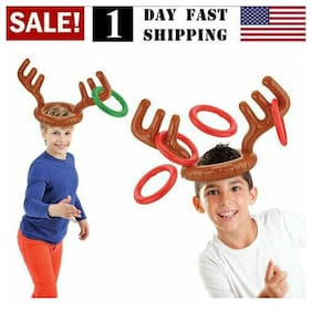Inflatable Reindeer Hat Antler Ring Toss Xmas Party Girls Boys Toy Christmas US!