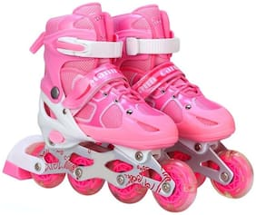Inline Skates Size Adjustable All Pure PU Wheels, Aluminum-Alloy which is Strong with LED Flash Light on Wheels(Pink)Size 22.5-25.3