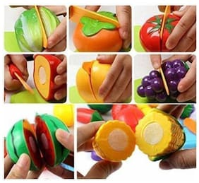 Inrange Realistic Sliceable Cutting Play Kitchen Toy with Fruits;Vegetables;Knife;Plate and Cutting-Board for Kids (Multicolour)