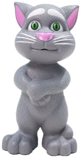 Intelligent Talking Tom Cat With Wonderful Voice Record With Touch 10 Music 10 Story Rhymes (1Pc) Grey