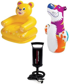 Intex Combo Of Teddy Chair And Hit Me Bop Bag With High Quality Hand Pump