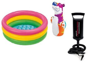 Intex Combo Of Hit Me Bop Bag And Baby Swimming Pool With High Quality Hand Pump