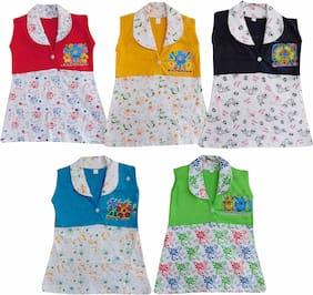 Jisha Baby girl Cotton Printed Collar frock - Multi