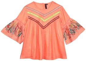 Ishin Girl Viscose rayon Printed Top - Orange