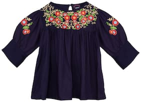 Ishin Girls Rayon Navy Blue Embroidered Pleated Top