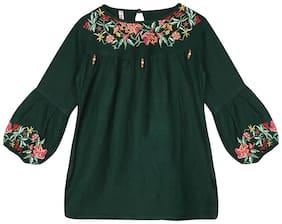 Ishin Girls Rayon Green Embroidered Top