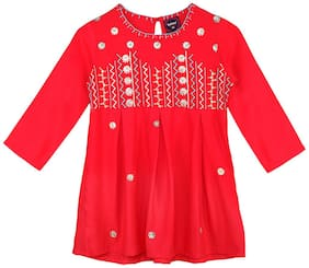Ishin Girls Rayon Red Embroidered Pleated Top