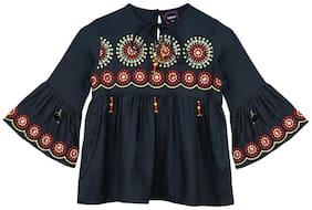 Ishin Girls Rayon Green Embroidered Pleated Top