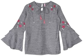 Ishin Girls Cotton Polyester Grey Embroidered Top