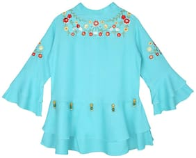 Ishin Girls Rayon Blue Embroidered Top