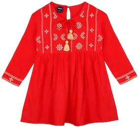 Ishin Girls Rayon Orange Embroidered Pleated Top