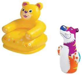 Jainsoneretail Intex Combo 2 ft Kids Bath Water Tub & 3-D Punching Bop Bag Tiger Shape Inflatable Bozrs