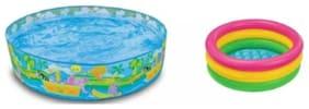 Jainsoneretail Intex Combo 5 ft Sunset Glow Inflatable Pool And 3 ft Water Bath Tub