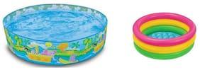 Jainsoneretail Intex Combo 5 Feet Sunset Glow Inflatable Pool And 3 Feet Water Bath Tub