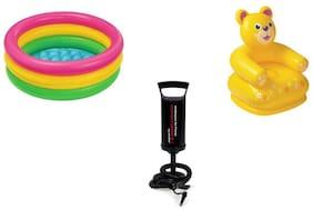 Jainsoneretail Intex Combo Inflatable Teddy Bear Chair,2 ft Water Bath Tub With Air Pump