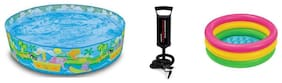 Jainsoneretail Intex Combo 5 ft Sunset Glow Inflatable Pool,2 ft Water Bath Tub With Air Pump