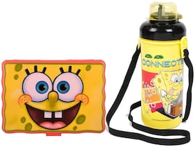 Jayco Sponge Bob Red Plastic Lunch Box and Bingo Big Water Bottle Set for Kids