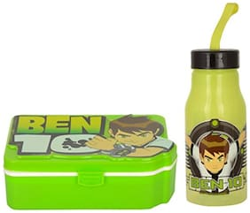 Jewel Ben 10 Green Lunch Box and Polo Small Water Bottle Set for Kids