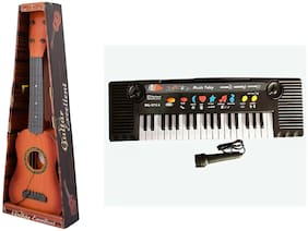 Jaynil  4 Strings Acoustic Musical Guitar with  37 Keys Piano Keyboard Toy for Kids